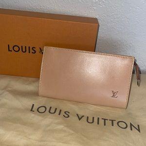 Authentic Louis Vuitton vachetta wristlet clutch